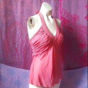 Bebe Coral Pink Beaded Ruched Silk Halter Top